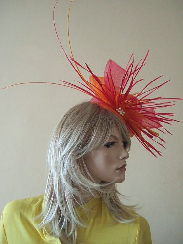 Bright Pink and Orange Ostrich Quill Goose Biot and Crin Large Fascinator